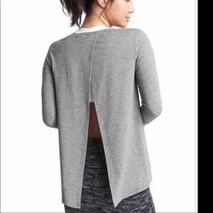 Gap Fit Gray Blouse Open Back Size X Large NWT